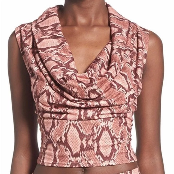 Missguided Tops - Missguided NEW sz 10 Cowl Neck Snakeskin top $46